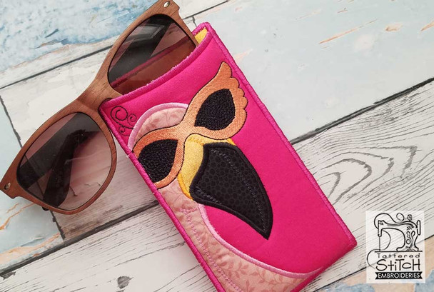 """Pink Flamingo  SUN GLASSES Case - Fits a 6x11"""" Hoop - Instant Downloadable Machine Embroidery"""
