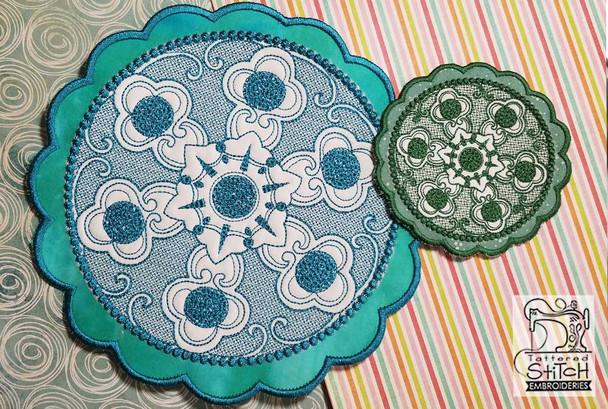 Floral Button Coaster - 5 - Embroidery Design