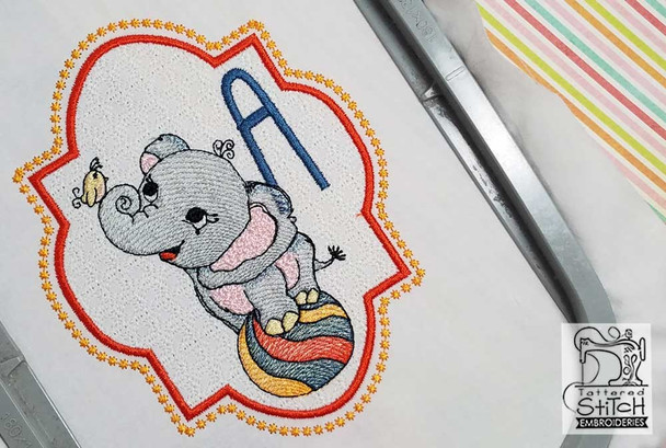 "Circus Ellie ABC's - P - Fits in a 5x7"" Hoop - Instant Downloadable Machine Embroidery"