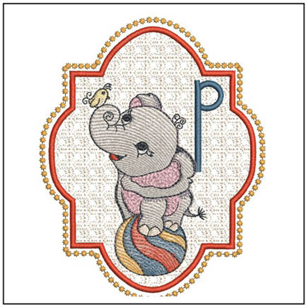 """Circus Ellie ABC's - P - Fits in a 5x7"""" Hoop - Instant Downloadable Machine Embroidery"""