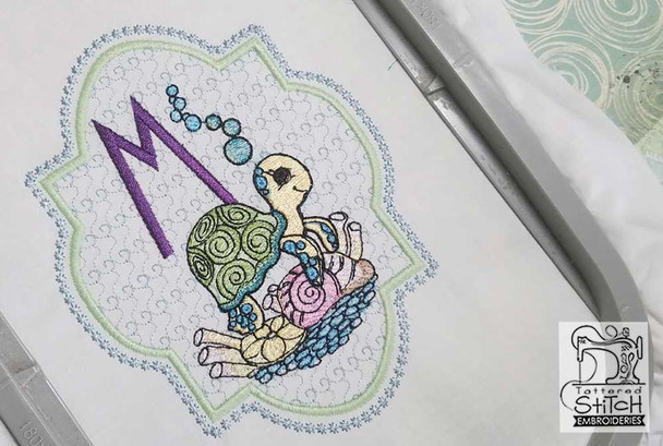 Turtle On Shells ABCs - V - Embroidery Designs