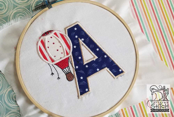 "Hot Air Balloon ABC's - L - Fits in a 4x4"" Hoop - Applique - Instant Downloadable Machine Embroidery"