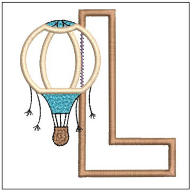 """Hot Air Balloon ABC's - L - Fits in a 4x4"""" Hoop - Applique - Instant Downloadable Machine Embroidery"""