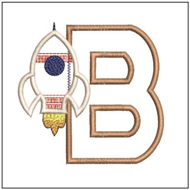 "Rocket Applique ABC's - B - Fits in a 4x4"" Hoop - Applique - Instant Downloadable Machine Embroidery"