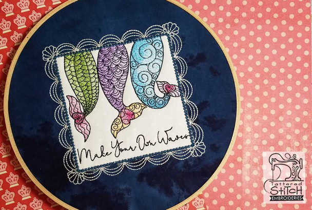 "Mermaid Waves Fits a 5x7"" & 8x8"" Hoop  - Instant Downloadable Machine Embroidery"