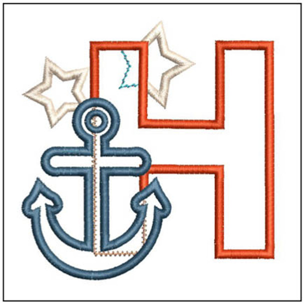"Anchor Applique ABC's - H- Fits in a 4x4"" Hoop - Applique - Instant Downloadable Machine Embroidery"