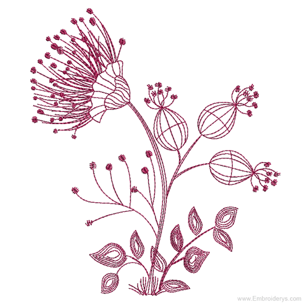 Floral Silhouette 2 Redwork - Embroidery Designs