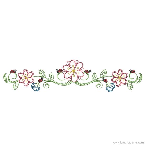 Daisy Ladybug Border - Embroidery Designs