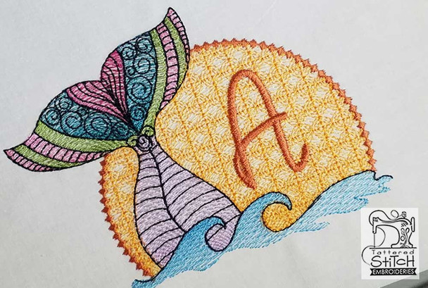 "Mermaid ABC's - H - Fits in a 5x7"" Hoop - Instant Downloadable Machine Embroidery"