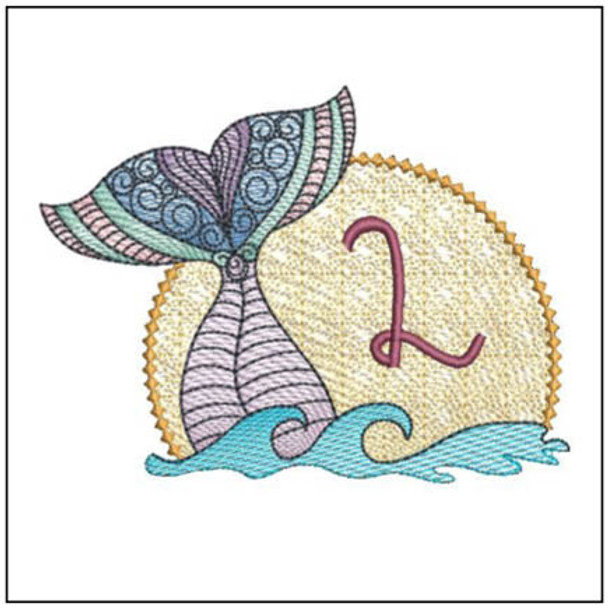 "Mermaid ABC's - L - Fits in a 5x7"" Hoop - Instant Downloadable Machine Embroidery"