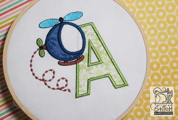 "Helicopter ABC's - M - Fits in a 4x4"" Hoop - Applique - Instant Downloadable Machine Embroidery"