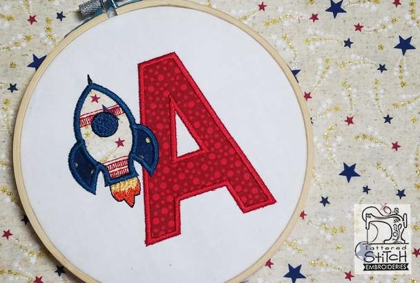 "Rocket Applique ABC's - R - Fits in a 4x4"" Hoop - Applique - Instant Downloadable Machine Embroidery"
