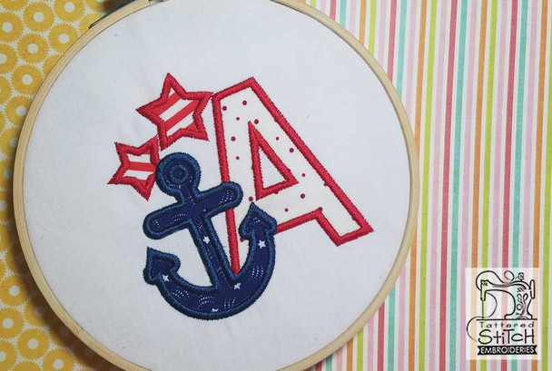 "Anchor Applique ABC's - W - Fits in a 4x4"" Hoop - Applique - Instant Downloadable Machine Embroidery"