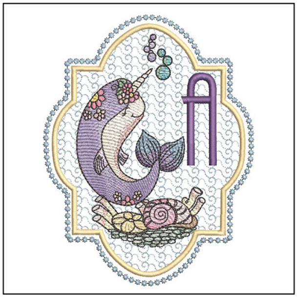 "Narwhal ABC's - A - Fits in a 5x7"" Hoop - Instant Downloadable Machine Embroidery"