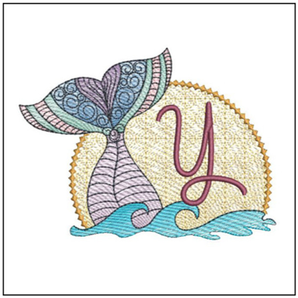 "Mermaid ABC's - Y - Fits in a 5x7"" Hoop - Instant Downloadable Machine Embroidery"