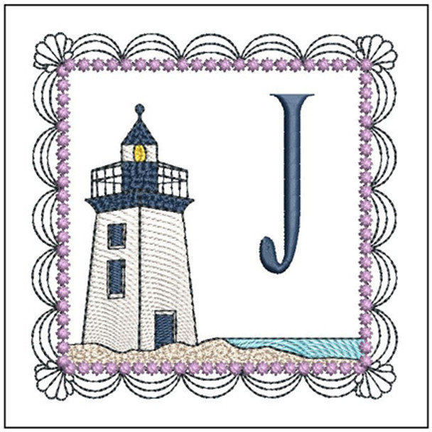 """Lighthouse ABC's - J - Fits in a 5x7"""" Hoop - Applique - Instant Downloadable Machine Embroidery"""