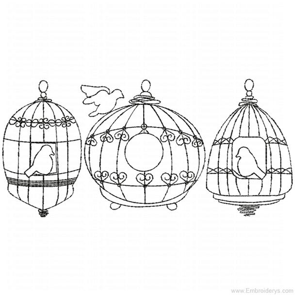 Birdcages Redwork - Embroidery Designs