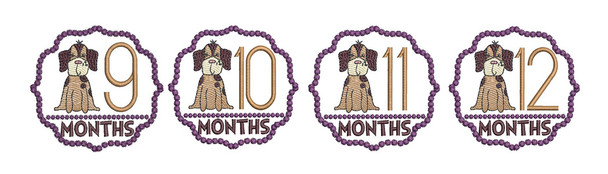 "Puppy Luv -Monthly Milestones Bundle - 9-12  - Fits into a 4x4"" Hoop - Instant Downloadable Machine Embroidery"