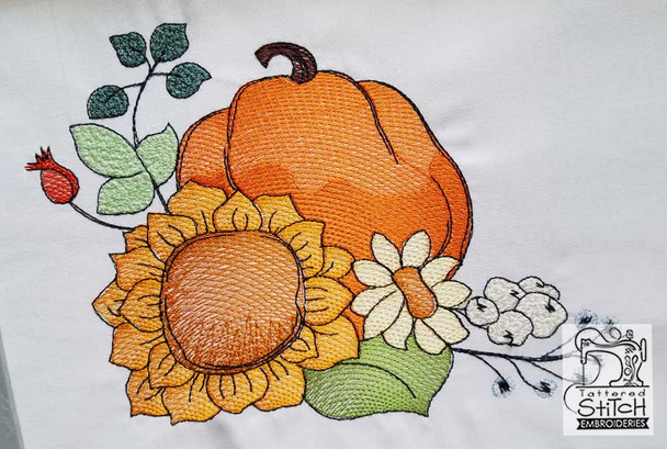"Pumpkin Bouquet Fits in a 5x7 & 8x8"" Hoop - Instant Downloadable Machine Embroidery"