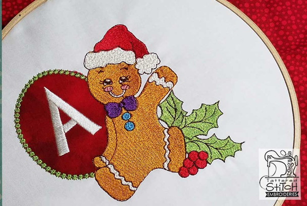 """Gingerbread Man ABC's - P - Fits in a 5x7"""" Hoop - Instant Downloadable Machine Embroidery"""