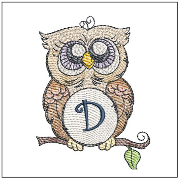 """Owl ABC's - D - Fits in a 4x4"""" Hoop - Instant Downloadable Machine Embroidery"""