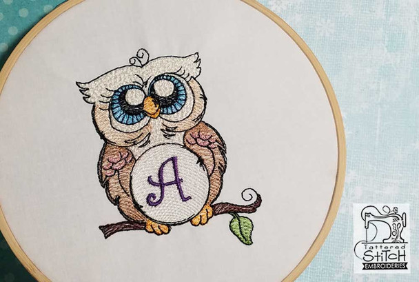 "Owl ABC's - L - Fits in a 4x4"" Hoop - Instant Downloadable Machine Embroidery"