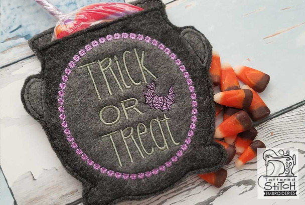 "Cauldron Treat Bag - Fits in a 5x7"" Hoop - Instant Downloadable Machine Embroidery"