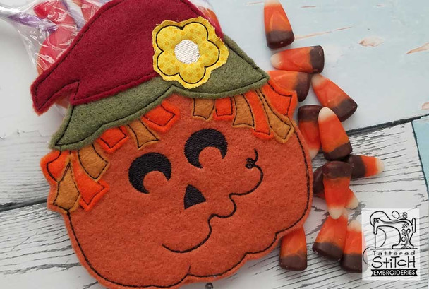 "Scarecrow Treat Bag - Fits in a 5x7"" Hoop - Instant Downloadable Machine Embroidery"