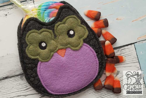"""Owl Treat Bag - Fits in a 5x7"""" Hoop - Instant Downloadable Machine Embroidery"""