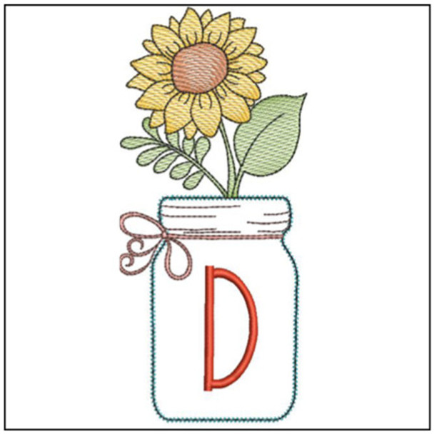 Sunflower Mason Jar ABCs - D - Embroidery Designs