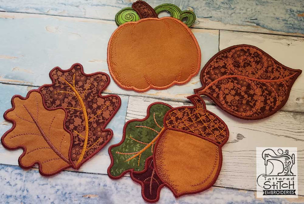 """30% Off - Fall Coasters Bundle - Fits in a 5x7"""" Hoop - Instant Downloadable Machine Embroidery"""