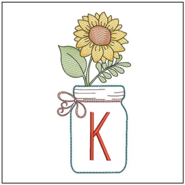 Sunflower Mason Jar ABCs - K - Embroidery Designs