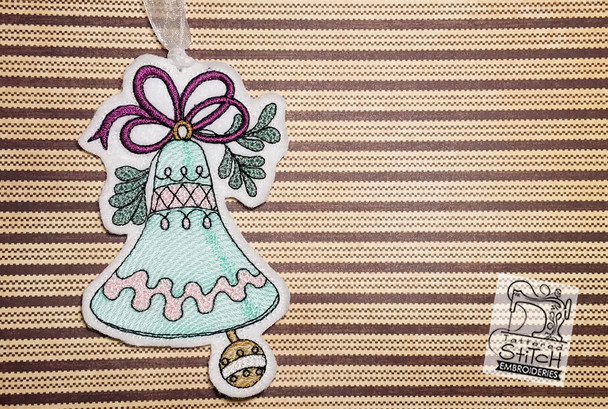 """30% Off - Vintage Bell Ornaments Bundle  - Fits into a 5x7"""" hoop - Instant Downloadable Machine Embroidery - Light Fill Stitch"""