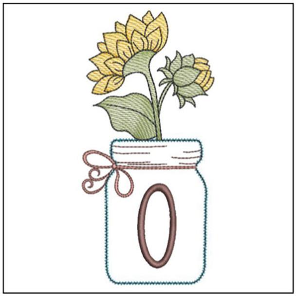 Sunflower Mason Jar ABCs - O - Embroidery Designs