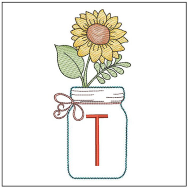 Sunflower Mason Jar ABCs - T - Embroidery Designs