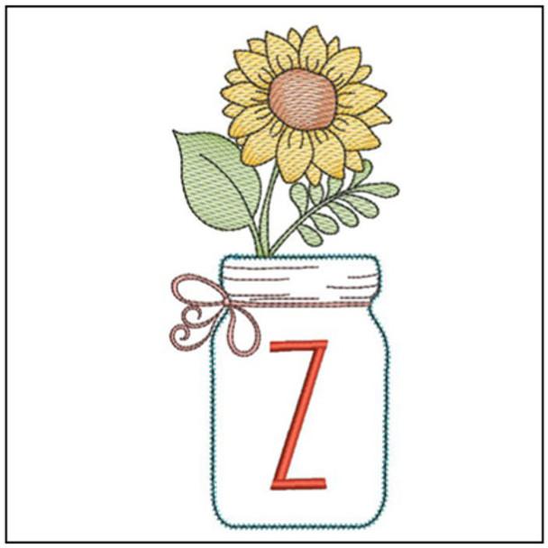 Sunflower Mason Jar ABCs - Z - Embroidery Designs