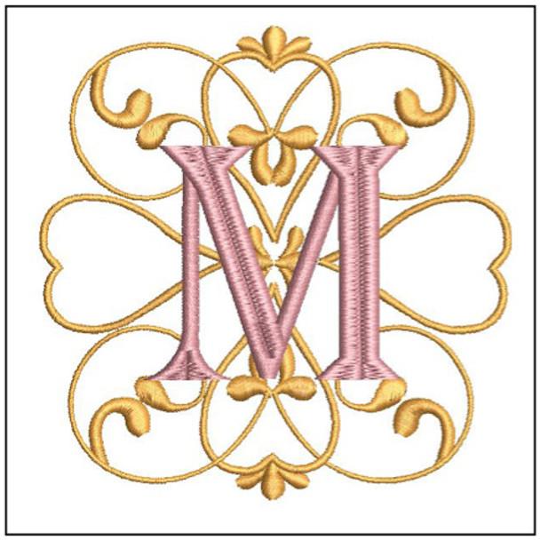 Monogram Swirls ABCs - M - Embroidery Design