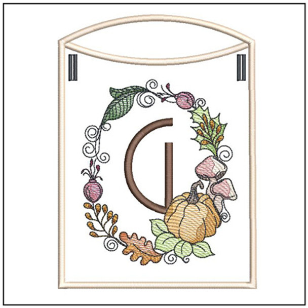 Pumpkin Wreath Bunting ABCs - G - Embroidery Designs