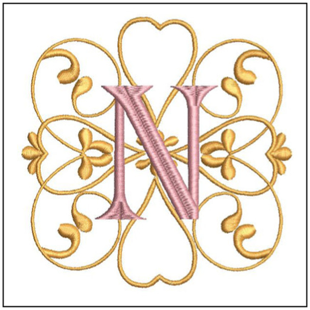 Monogram Swirls ABCs - N - Embroidery Designs