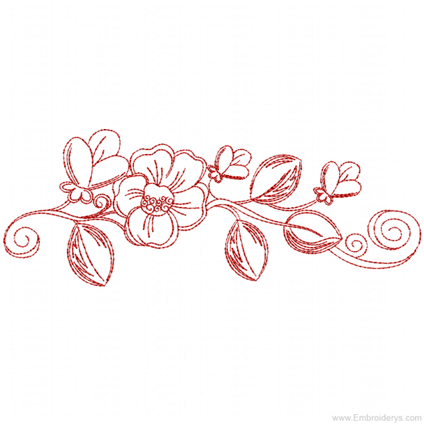 Desert Rose Border Redwork - Embroidery Designs