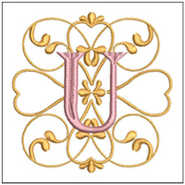 "Monogram Swirls ABCs - U - Fits a 4x4"" Hoop - Machine Embroidery Designs"