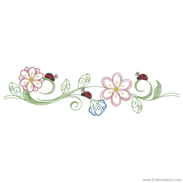 Busy Ladybugs Border - Embroidery Designs
