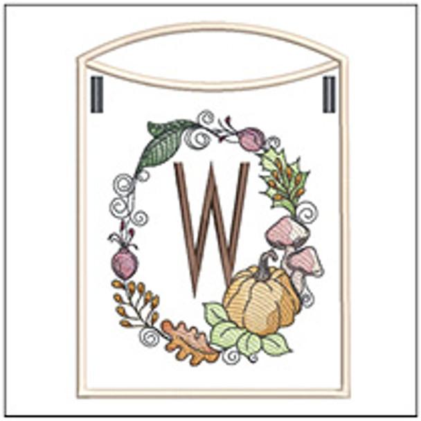 Pumpkin Wreath Bunting ABCs - W - Embroidery Designs