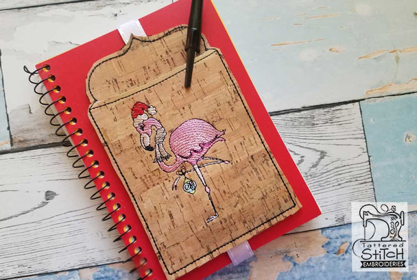 """Holiday Flamingo Book Buddy - In the Hoop - Fits a 5x7"""" Hoop - Machine Embroidery Designs"""