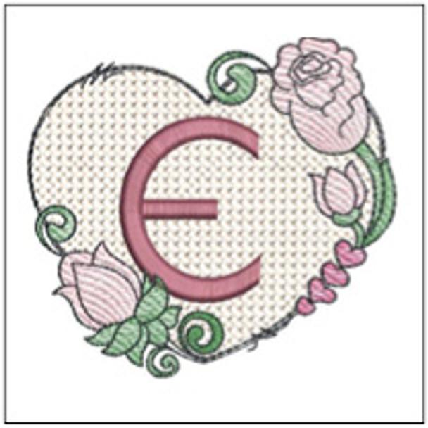 "Heart Monogram  ABCs - E - Fits a 4x4"" Hoop - Machine Embroidery Designs"