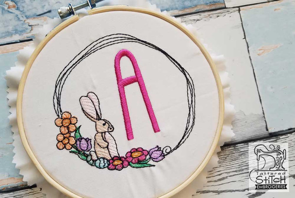 Bunny Wreath ABCs - A - Embroidery Designs