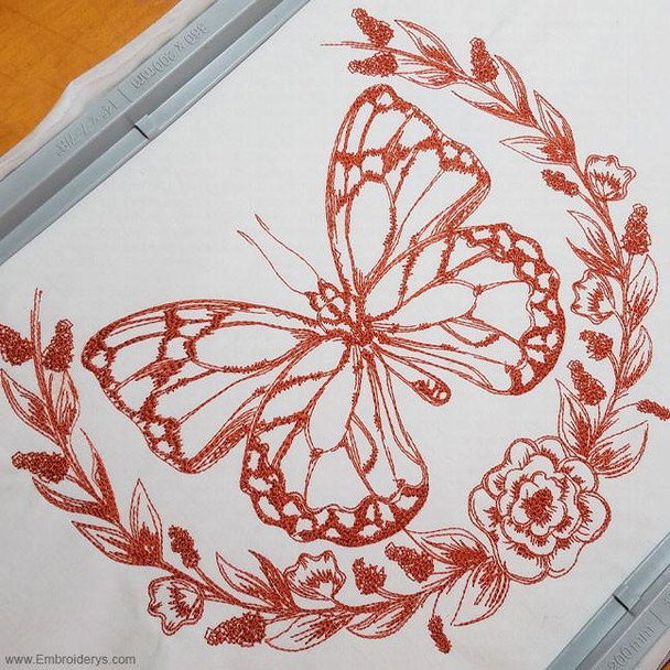 Regal Butterfly Redwork - Embroidery Designs