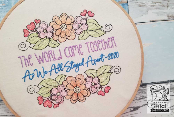 """The World Came Together - Fits a  5x7"""" &  8x8"""" Hoop - Machine Embroidery Designs"""
