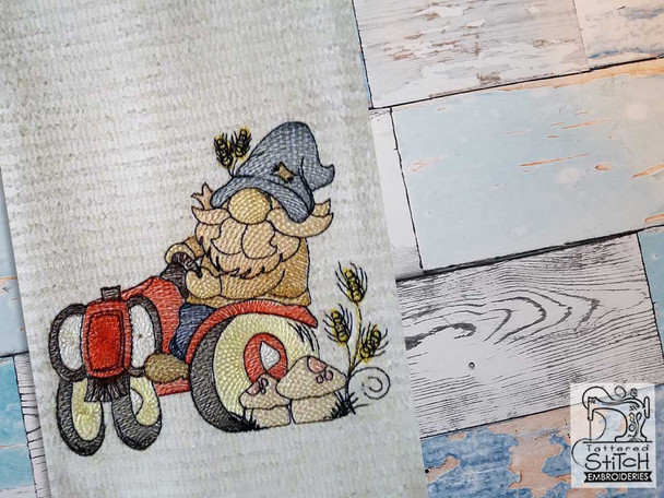 """Tractor Gnome - Fits a 4x4"""",  5x7"""" &  8x8"""" Hoop - Machine Embroidery Designs"""