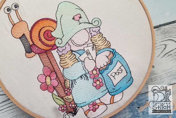 "Snail Mail Gnome - Fits a 4x4"",  5x7"" &  8x8"" Hoop - Machine Embroidery Designs"